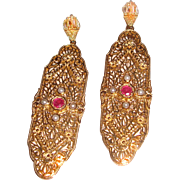 Victorian Revival Sterling Vermeil Filigree Earrings Ruby & Seed Pearls