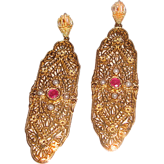 Long Filigree Drop Earrings Ruby Seed Pearls Sterling Vermeil