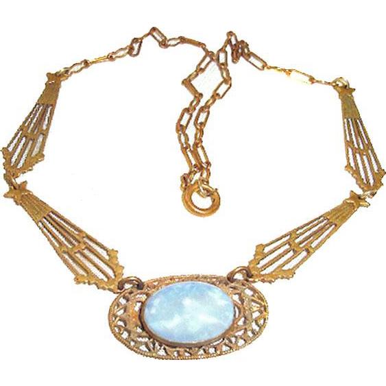 Art Nouveau Necklace Stars Comets Moon