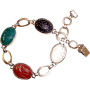 Scarab Bracelet Sterling Plus 14K Carnelian Onyx Chrysophase Moonstone