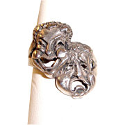 Modernist Sterling Silver Ring Comedy Tragedy Masks