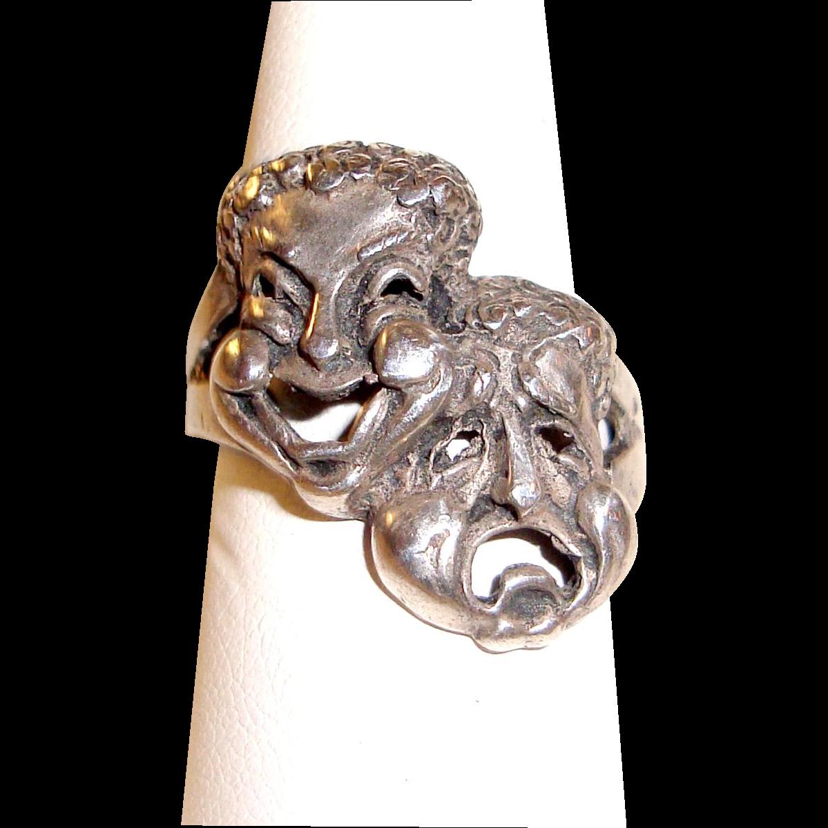 Modernist Ring Comedy Tragedy Masks Sterling Silver