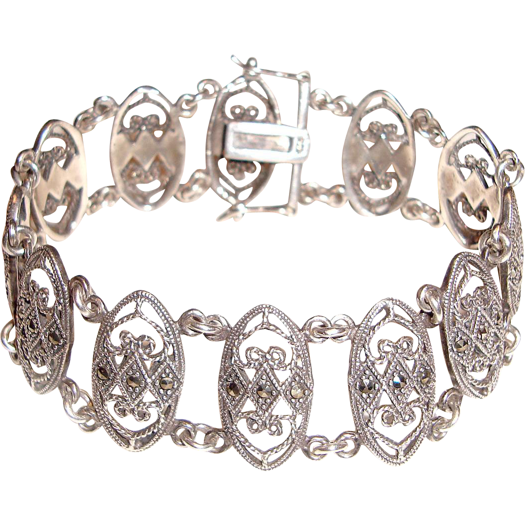 Sterling Silver Bracelet Ovals Links Marcasites 7.75 Inches Long
