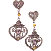 Sterling Silver Marcasite Drop Earrings Amethyst Citrine