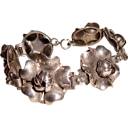 Arts and Crafts Sterling Silver Link Bracelet Roses Peonies