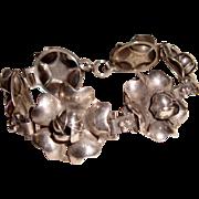 Art Nouveau Sterling Flowers Bracelet Roses