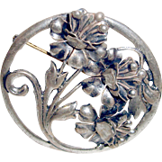 Art Deco Sterling Silver Flower Brooch