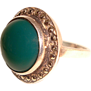 Estate Sterling Silver Ring Green Onyx Marcasite Halo