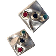 Modernist Taxco Sterling Silver Earrings TL-67 Mexico Carnelian Onyx Chrysophase