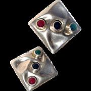 Taxco Sterling Earrings Carnelian Onyx Chrysophase