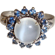 Sterling Moonstone Ring Blue Spinel Halo