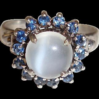 Sterling Moonstone Ring Blue Spinel Halo