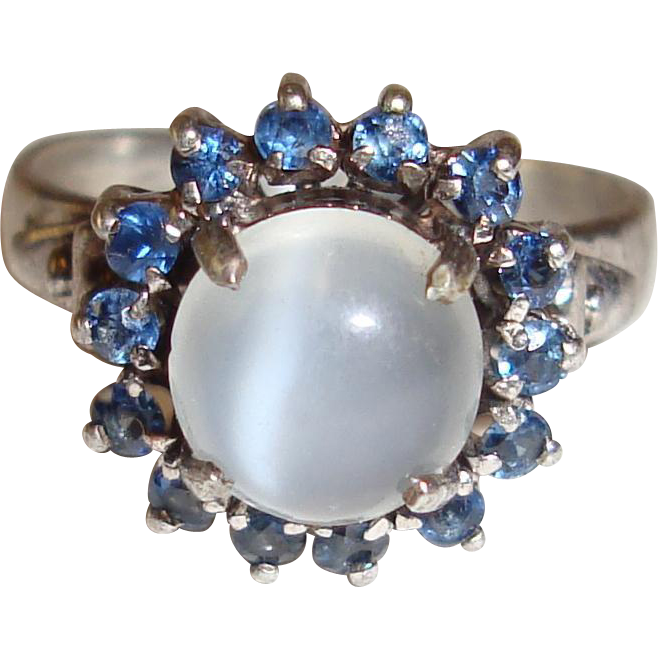 Moonstone Ring Blue Spinel Halo Sterling Silver 925