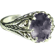 Natural Iolite Ring Sterling Silver Filigree Size 6.75
