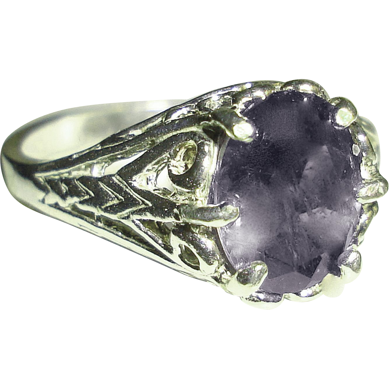 Natural Iolite Sterling Silver Filigree Ring