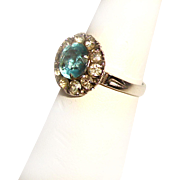 Clark and Coombs Sterling Art Deco Halo Ring Aquamarine Paste