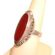 Estate Carnelian Marcasite Sterling Silver Ring Marked GM