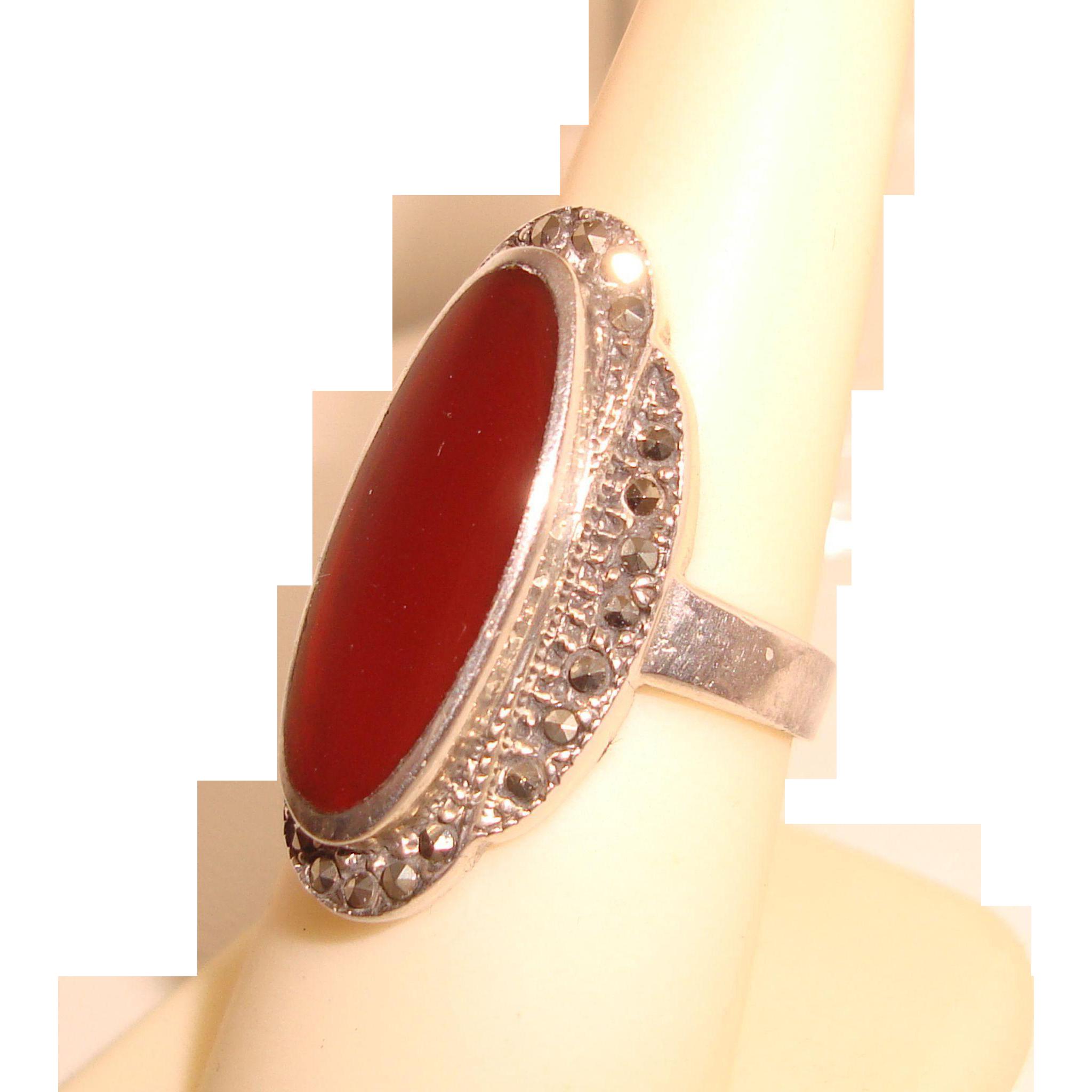 Sterling Silver Ring Carnelian Marcasites Southwestern