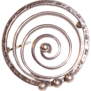 Modernist Sterling Brooch Stylized Spiral