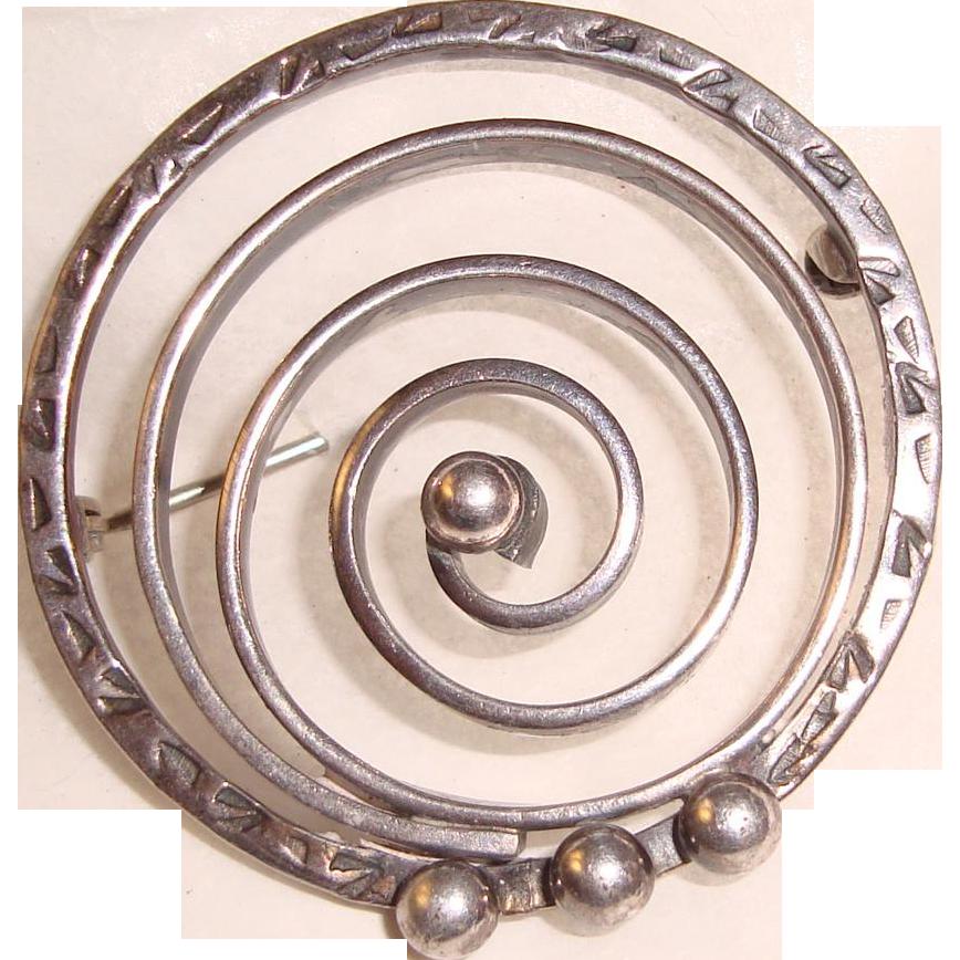 Modernist Sterling Brooch Stylized Spiral