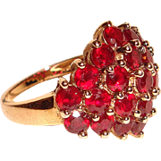 Sterling Silver Ring Synthetic Rubies