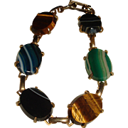Striped Stones Bracelet Earth Tones Nature Foliage