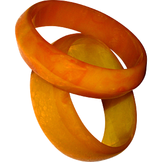 Bakelite Bangles Pumpkin Orange Yellow Tequila Sunrise Fall Autumn
