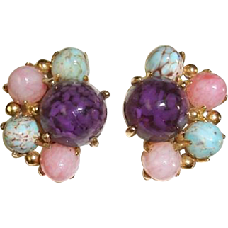 Unsigned Schiaparelli Gumdrop Earrings Purple Pink Blue