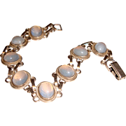 Van Dell Sterling Bracelet Opaline Glass Stones