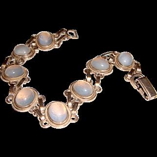 Van Dell Sterling Bracelet Opaline Glass Stones