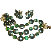 Vendome Bracelet Earrings Set Peacock Green Coin Beads Teal Crystals Christmas
