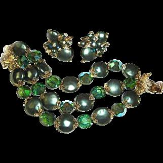 Vendome Bracelet Earrings Set Peacock Green Coin Beads Teal Crystals Christmas