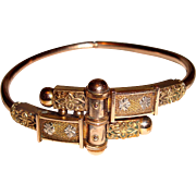 Victorian Etruscan Revival Gold Filled Clamper Bangle Bracelet