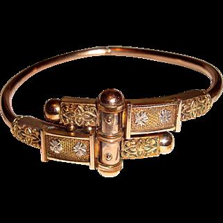 Victorian Gold Filled Clamper Bangle Bracelet