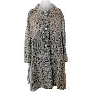 Vintage Gray Boucle Car Coat  Side Vents