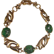 Art Nouveau Scarab Bracelet Gold Filled Spinach Jade Lilies WRE W.E. Richards