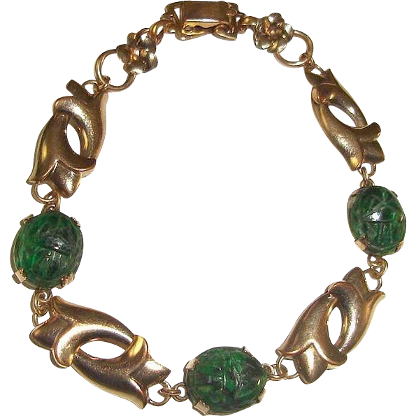 Art Nouveau Scarab Bracelet Gold Filled Spinach Jade Stones WRE W.E. Richards
