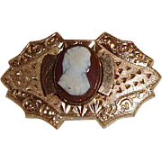 Carved Cameo Center Victorian Watch Pin Gold Filled
