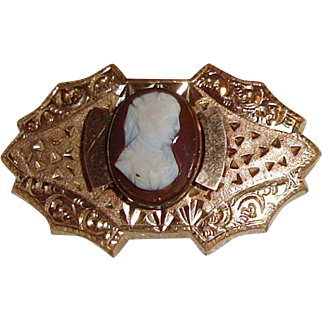 Victorian Cameo Watch Pin  Locket Charm Fob