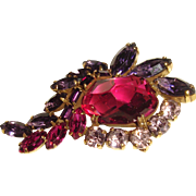 Rare Weiss Brooch Fuschia Pink Purple and Lilac Rhinestones