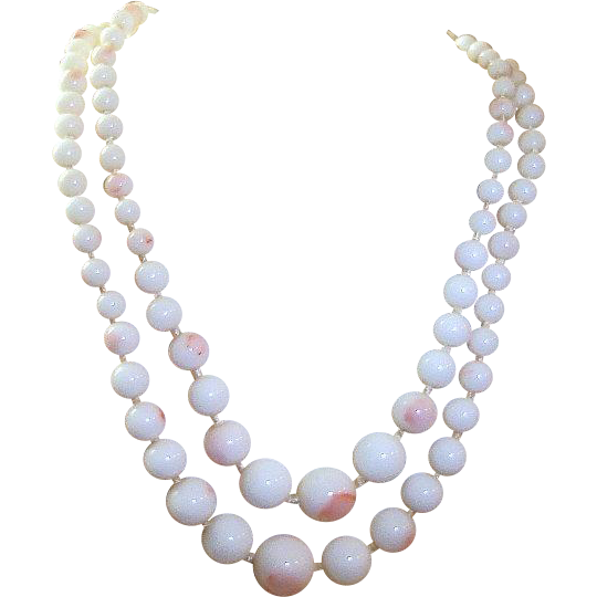 Vintage Angel Skin Coral Glass Choker Necklace Pink White Beads Double Strand