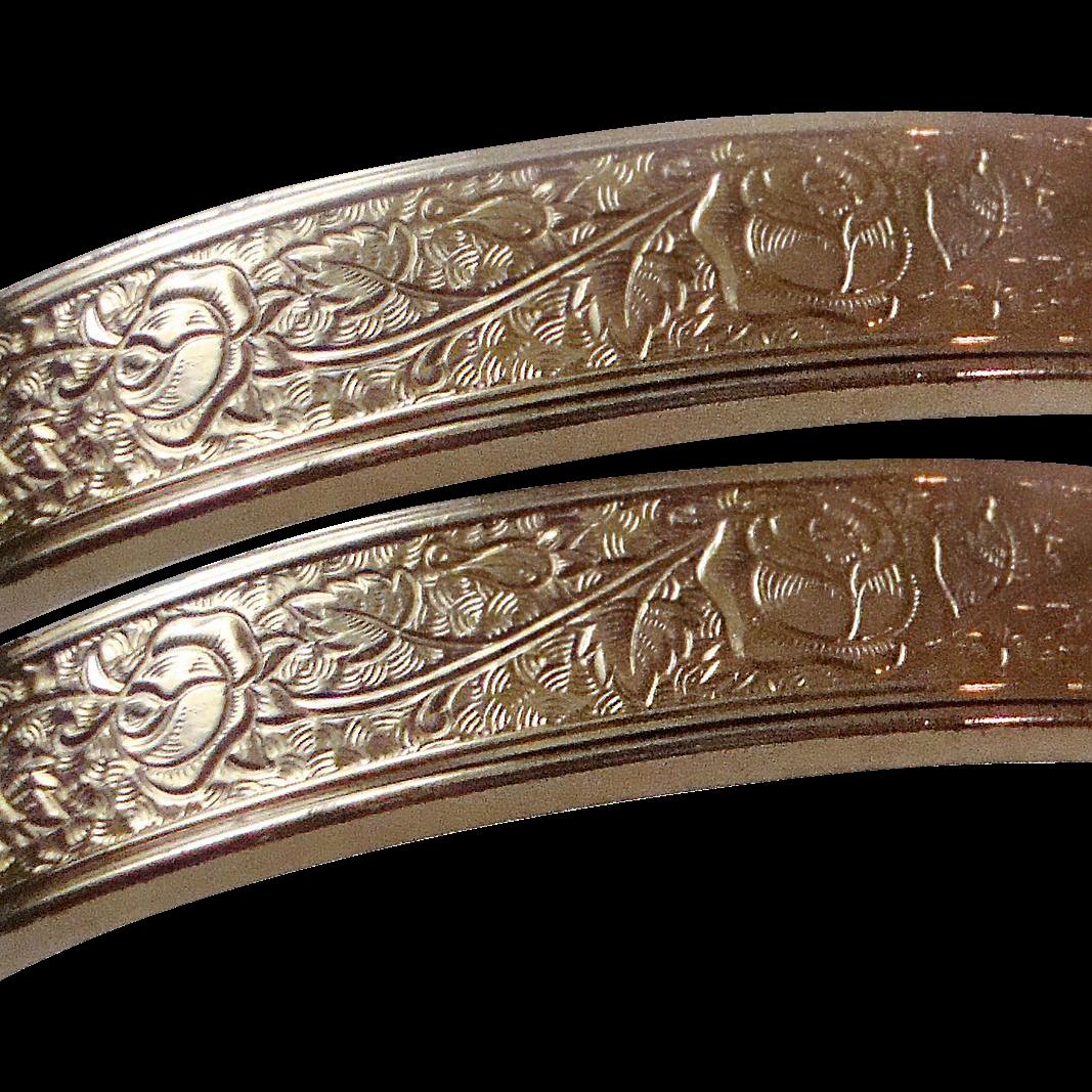 Pair of Gold Filled Bangle Bracelets Signed Winard