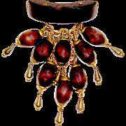 Art Deco Era Wood and Brass Dangle Brooch