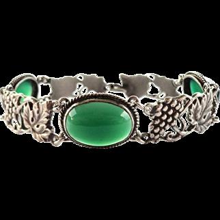 Vintage Italian 800 Silver Chrysoprase Grape & Vine Bracelet