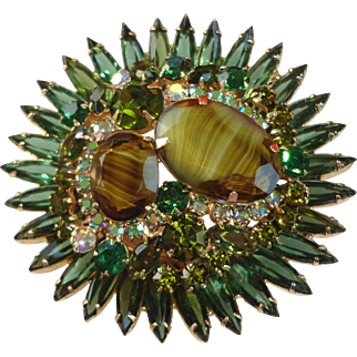 HUGE Vintage D&E Juliana Green, AB & Artglass Givre Brooch Pin