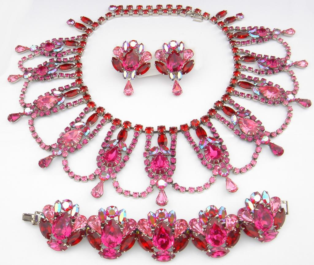 """Fuchsia Fantasy"" Siam, Rose & Fuchsia Swarovski Rhinestone Necklace, Bracelet & Earrings by Elizabeth Cooke"