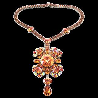 Summer Blush Topaz, AB & Fire Opal Swarovski Rhinestone Drop Necklace by Elizabeth Cooke