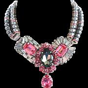 Grey Shadow & Rose Pink Swarovski Rhinestone Art Deco Necklace & Earrings by Elizabeth Cooke