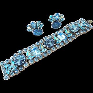Aqua & AB Swarovski Rhinestone with Textured Artglass Bracelet & Earrings by Elizabeth Cooke