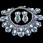 Tanzanite, Montana & AB Swarovski Rhinestone with Turquoise Matrix Artglass Necklace & Earrings by Elizabeth Cooke